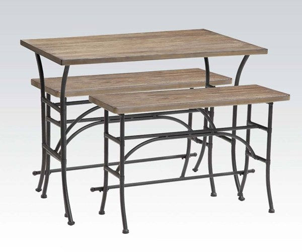 Domingo Oak Black Wood Metal 3pc Pack Counter Height Set ACM-71660
