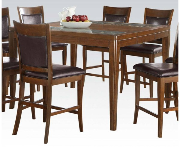 Belinda Contemporary Walnut Coconut Wood Glass Counter Height Table ACM-71700