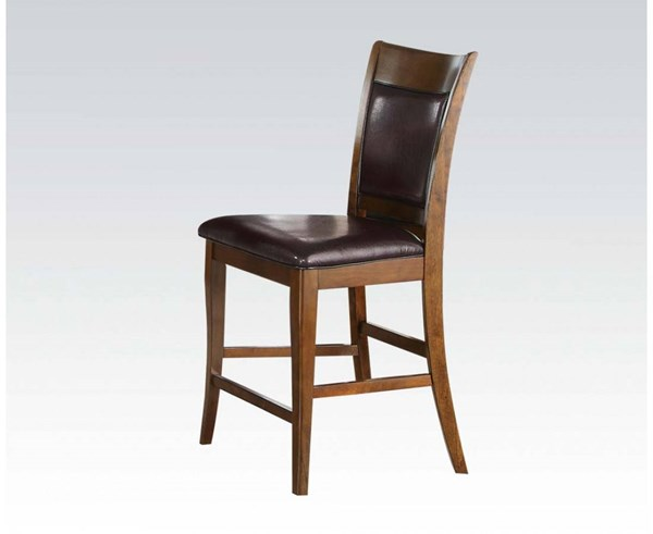 2 Belinda Contemporary Espresso Walnut PU Wood Counter Height Chairs ACM-71702