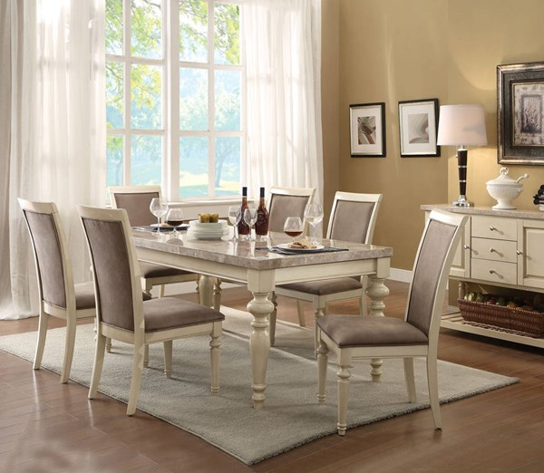 Ryder Traditional Antique White Marble Wood 7pc Dining Room Set ACM-71705-DT-S