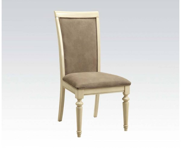 2 Ryder Traditional Antique White Fabric Wood Side Chairs ACM-71707