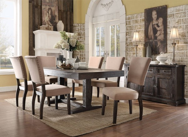 Eliana Brown Fabric Wood 7pc Dining Room Set ACM-7171-DR-S1