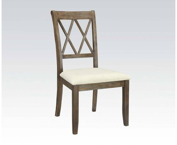 2 Claudia Casual White Brown Fabric Wood Side Chairs ACM-71717