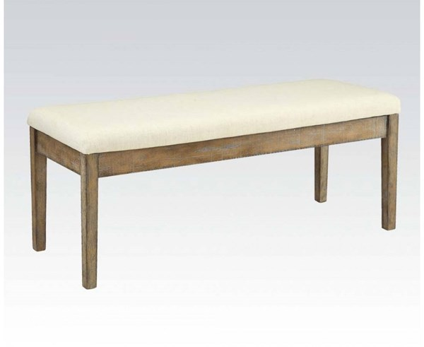 Claudia Casual White Brown Fabric Wood Bench ACM-71718
