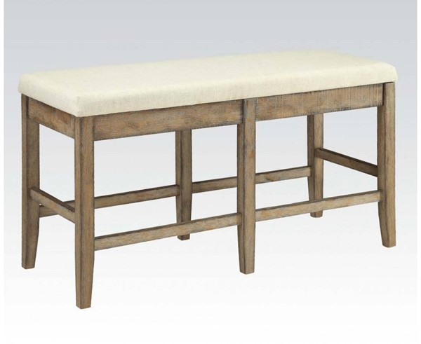 Claudia White Brown Fabric Wood Counter Height Bench ACM-71723