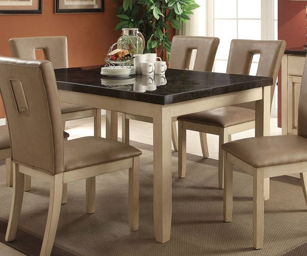Faymoor Transitional Limestone Antique White Marble Wood Dining Table ACM-71755