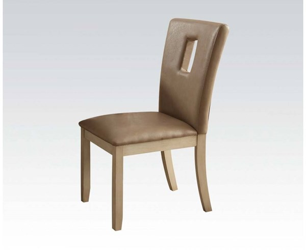 2 Faymoor Casual Cream Antique White PU Wood Armless Side Chairs ACM-71757