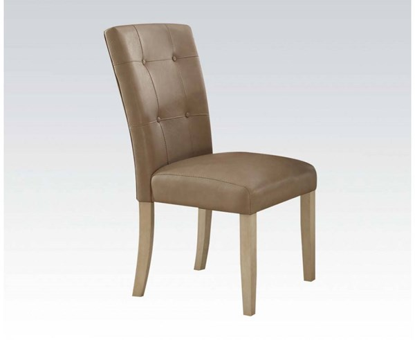 2 Faymoor Casual Cream Antique White PU Wood Keyhole Back Side Chairs ACM-71758
