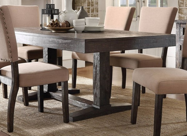 Eliana Salvage Oak Fabric Wood 7pc Dining Room Set ACM-7171-DR-S2