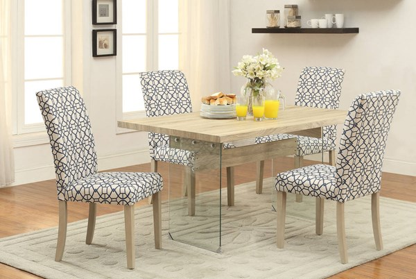 Glassden Green Blue Orange Fabric Wood Glass Dining Room Set ACM-71905-DR
