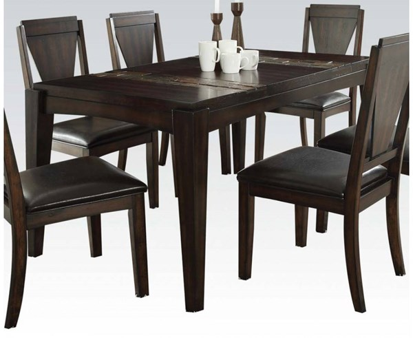 Goldcliff Contemporary Walnut Stone Wood Dining Table ACM-71900