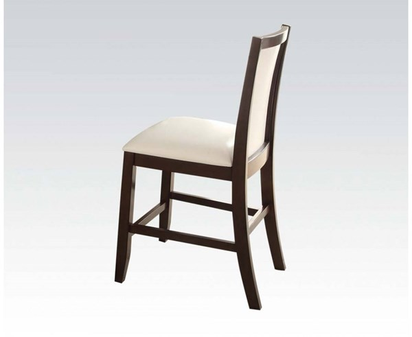 2 Eastfall White Espresso PU Wood Counter Height Chairs ACM-71918