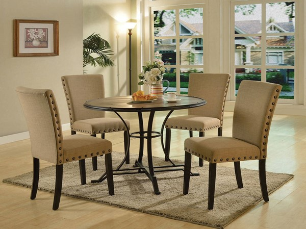 Byton Antique Light Oak Black Wood Metal Dining Room Set ACM-71930-DR