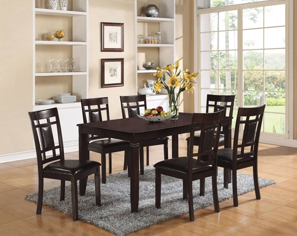 Sonata Casual Espresso PU Solid Wood Birch MDF 7pc Dining Set ACM-71955