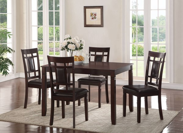 Sonata Espresso Solid Wood MDF PU 5pc Dining Set ACM-71960