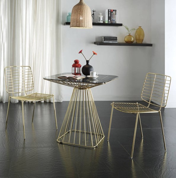 Rianne Traditional Glass Gold Smoky Metal 3pc Dining Room Set ACM-7196-DR-S1