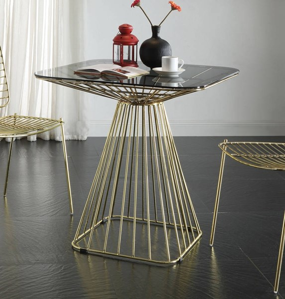 Rianne Traditional Gold Smoky Metal Glass Dining Table ACM-71965