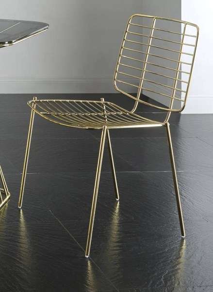 2 Rianne Traditional Gold Metal Side Chairs ACM-71967
