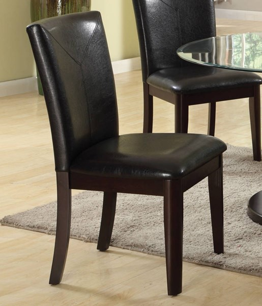 2 Gable Espresso Poplar Wood PU Foam Side Chairs ACM-71987
