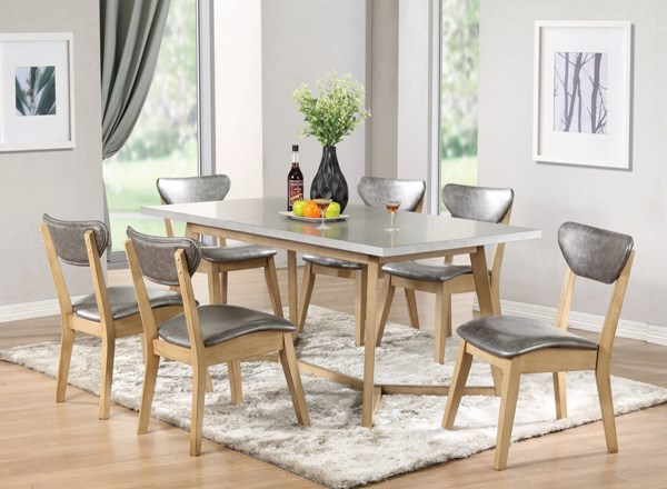 Rosetta Light Gray Antique Beige PU Rubberwood 7pc Dining Room Set ACM-7201-DR-S1