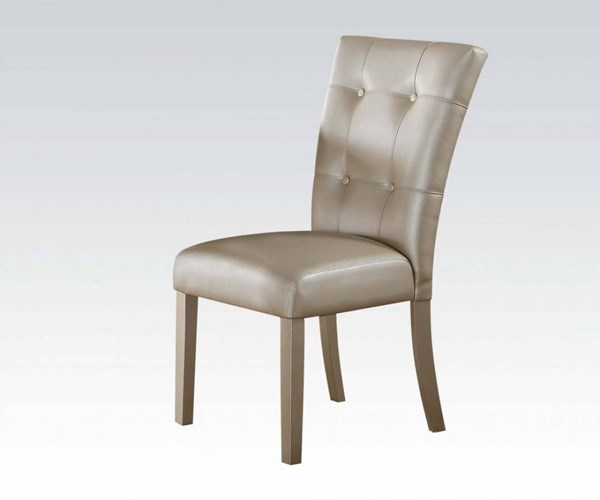2 Voeville II Platinum PU MDF Side Chairs ACM-72027