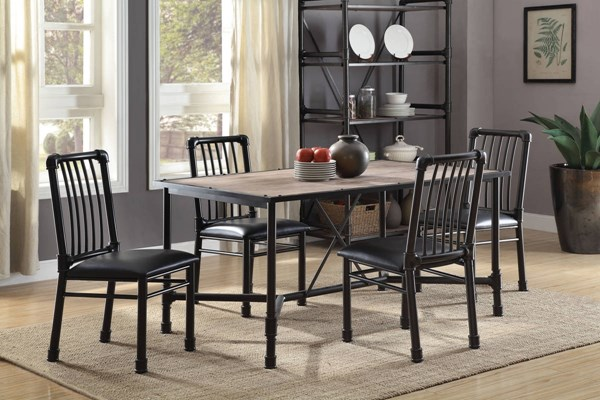 Caitlin Contemporary Oak Black Metal Melamine Paper Dining Room Set ACM-7203-DR
