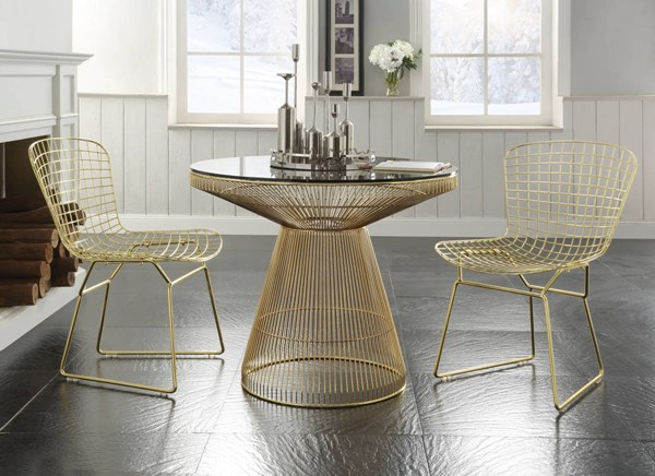 Rianne Gold Metal Clear Glass 3pc Dining Room Set ACM-7196-DR-S3