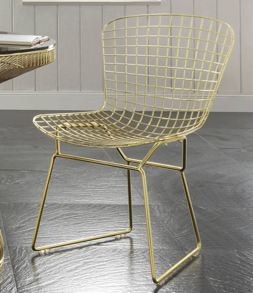 2 Rianne Gold Metal Side Chairs ACM-72108