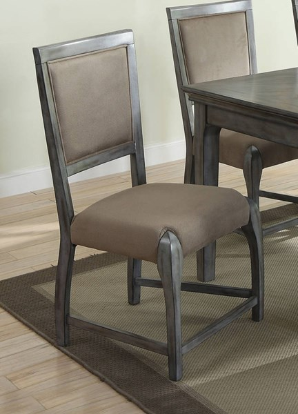 2 Freira Bronze Antique Gray Rubberwood Fabric Side Chairs ACM-72112