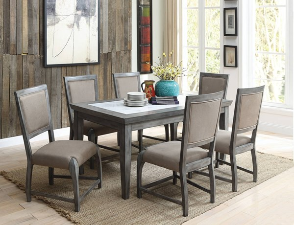 Freira Bronze Gray Marble Rubberwood MDF Fabric 7pc Dining Room Set ACM-7211-DR-S2