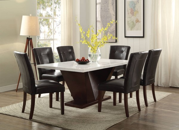 Forbes White Marble Walnut MDF Dining Table ACM-72120