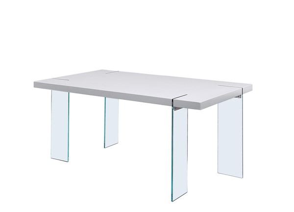 Acme Furniture Noland White High Gloss Wood Glass Dining Table ACM-72185