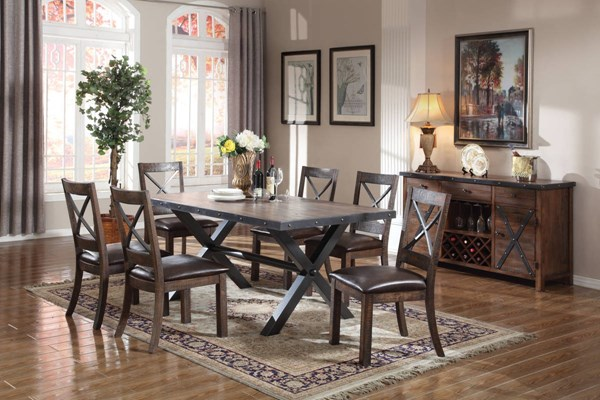 Earvin Espresso Weathered Cherry Poplar MDF Metal 7pc Dining Room Set ACM-7223-DR-S1