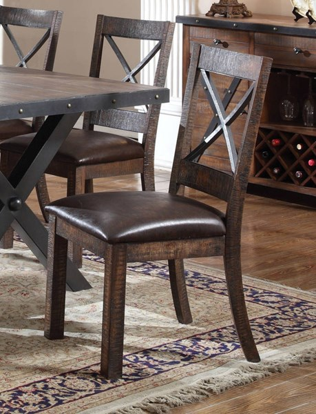 2 Earvin Espresso Weathered Cherry Metal Side Chairs ACM-72232