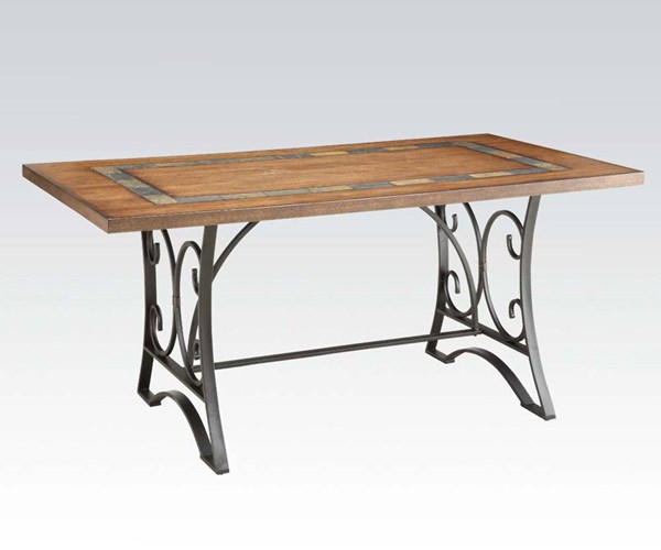 Hakesa Traditional Cherry Antique Black Wood Metal Dining Table ACM-72250
