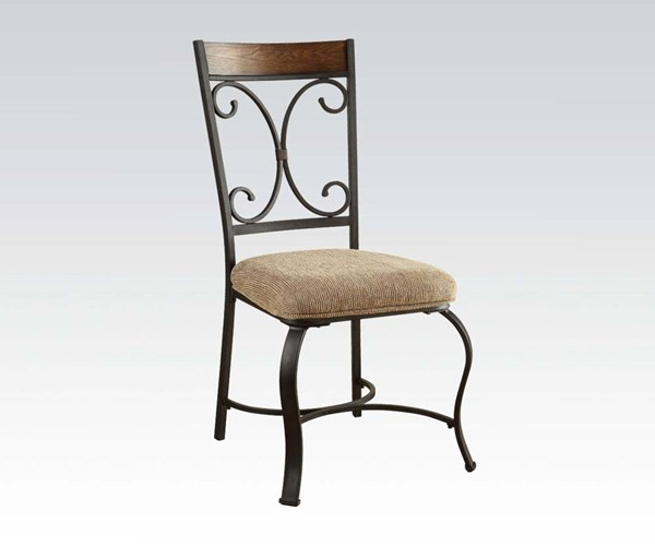 2 Hakesa Traditional Cherry Black Metal Wood Fabric Side Chairs ACM-72252