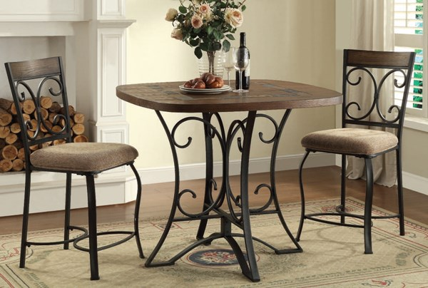 Hakesa Cherry Antique Black Metal Wood 3pc Counter Height / Bar Set ACM-72255-257-BAR-S