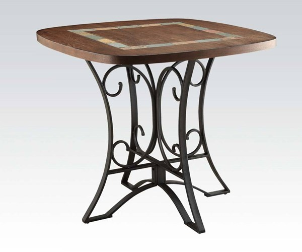 Hakesa Contemporary Cherry Black Wood Metal Counter Height Table ACM-72255