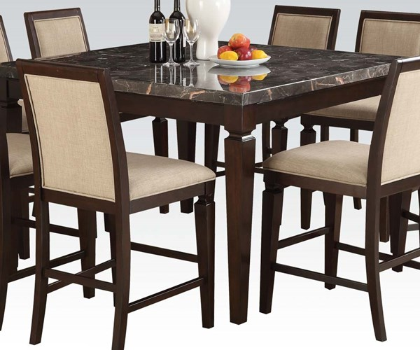 Agatha Transitional Black Espresso Wood Marble Counter Height Table ACM-72485