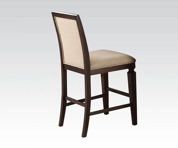2 Agatha Transitional Espresso Wood Fabric Counter Height Chairs ACM-72487