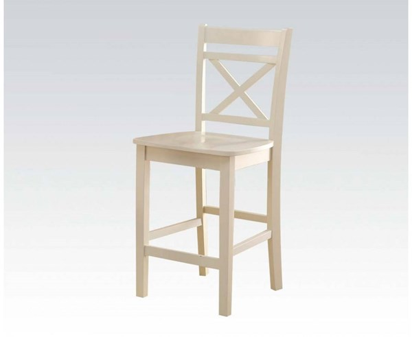 2 Tartys Casual Cream Wood Counter Height Chairs ACM-72547