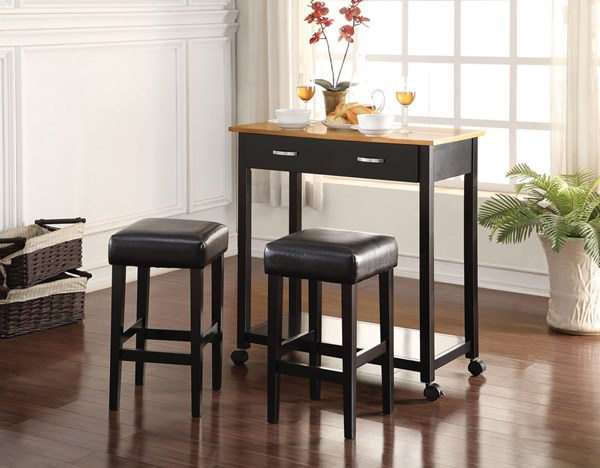 Maroth Black PU Wood Metal 3pc Pack Counter Height Set ACM-72550
