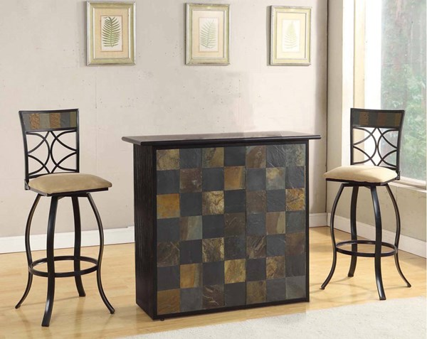 Pansy Black Wood 3pc Counter Height / Bar Set ACM-7266-BAR-S1