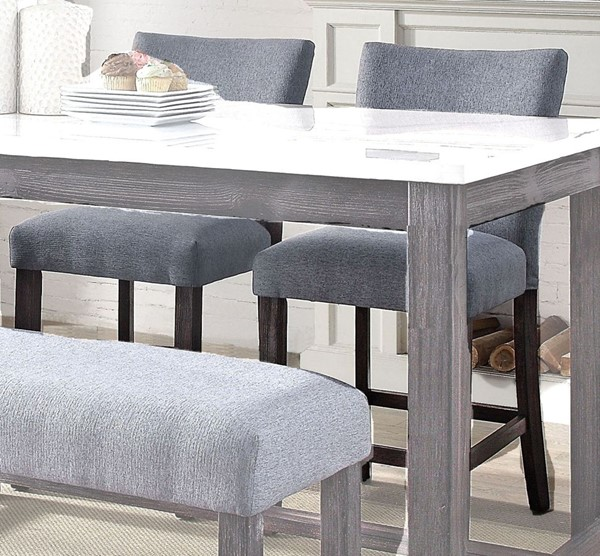 2 Acme Furniture Yelena Gray Weathered Espresso Counter Height Chairs ACM-72942