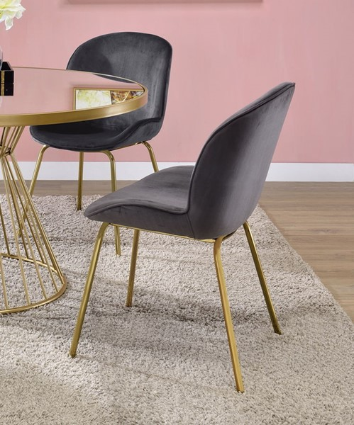 2 Acme Furniture Chuchip Gray Gold Side Chairs ACM-72948