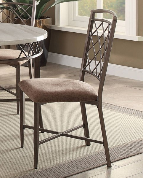2 Aldric Antique Metal Fabric Foam Side Chairs ACM-73002