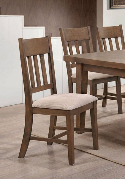 2 Ulysses Cream Weathered Oak Fabric Wood Side Chairs ACM-73062