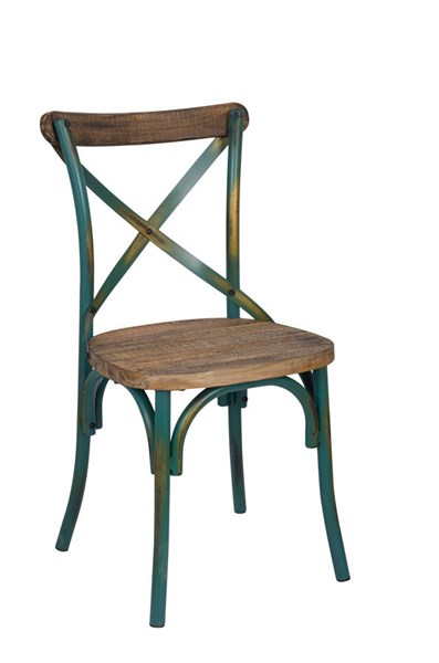 Zaire Walnut Antique Turquoise Steel Wood Side Chair ACM-73072