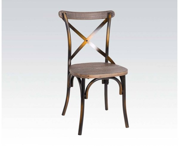 Zaire Walnut Antique Copper Steel Wood Side Chair ACM-73077