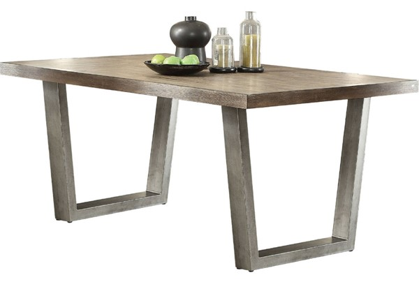Acme Furniture Lazarus Weathered Oak Antique Silver Dining Table ACM-73110
